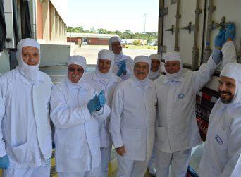 Ministro da Agricultura Blairo Maggi acompanha despacho de contêiner de carne suína da AURORA ALIMENTOS para os Estados Unidos